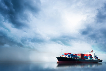 Foto per Logistics and transportation of International Container Cargo ship in the ocean, Freight Transportation, Shipping - Immagine Royalty Free