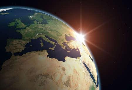 Beautiful Planet Earth. Sun rising over Europe..
