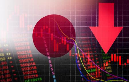 Foto de Japan tokyo stock exchange market crisis red price arrow down chart fall / nikkei stock exchange market analysis forex graph business  money crisis moving down inflation deflation with flag of Japan - Imagen libre de derechos