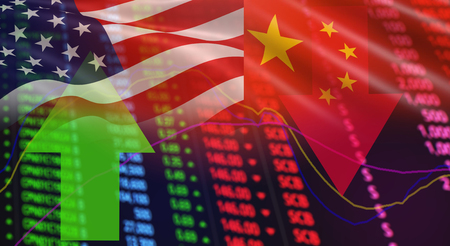 Photo pour USA America and China flag arrows Stock exchange market analysis / Stock crisis red price chart fall and green up profits growth / indicator of changes graph chart business finance money  investment - image libre de droit