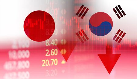 Photo for Japan and South Korea trade war white list economy conflict tax / Japan rally to declare a boycott South Korea goods export Controls technology business stock market graph chart crisis - Royalty Free Image
