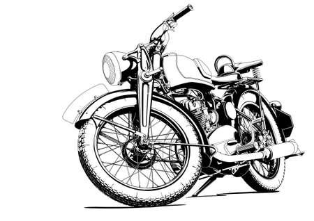 Illustration pour old motorcycle illustration - image libre de droit