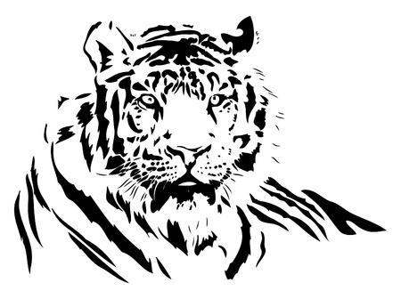 black silhouette of a wild tiger, vector illustration