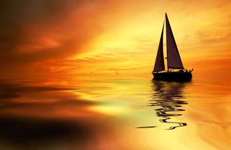 Photo for Sailboat against a beautiful sunset - Royalty Free Image