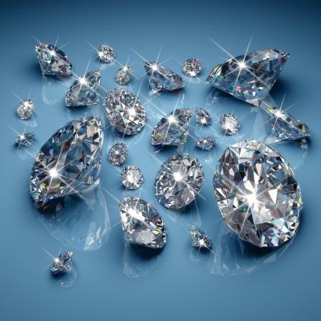 Photo pour Brilliant diamonds on blue background - image libre de droit