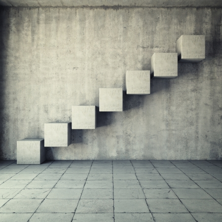 Foto de Abstract concrete staircase made of cubes in interior - Imagen libre de derechos