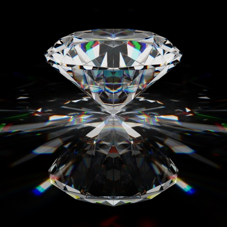 Photo for Brilliant diamond on black surface - Royalty Free Image