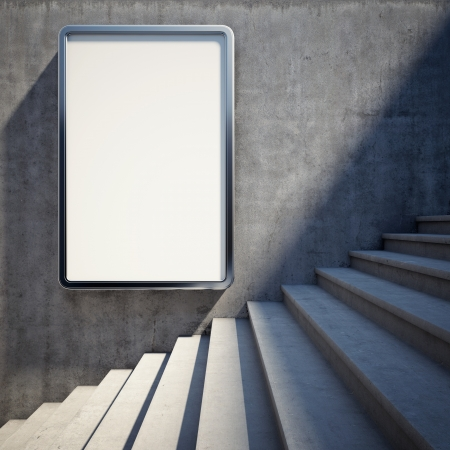 Photo pour Blank advertising billboard on concrete wall with steps up - image libre de droit
