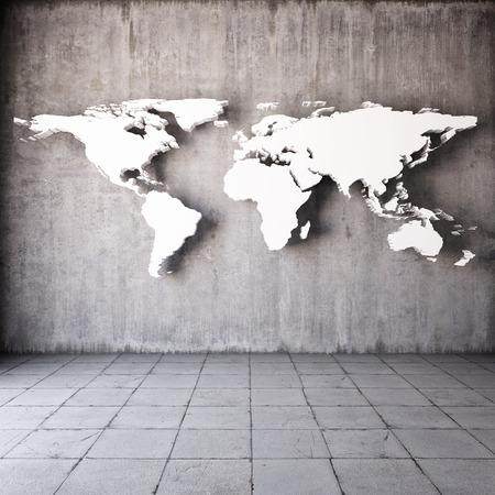 Foto de Abstract world map in room with concrete walls - Imagen libre de derechos