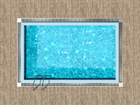 Photo for Swimming pool with wooden deck top view - Royalty Free Image