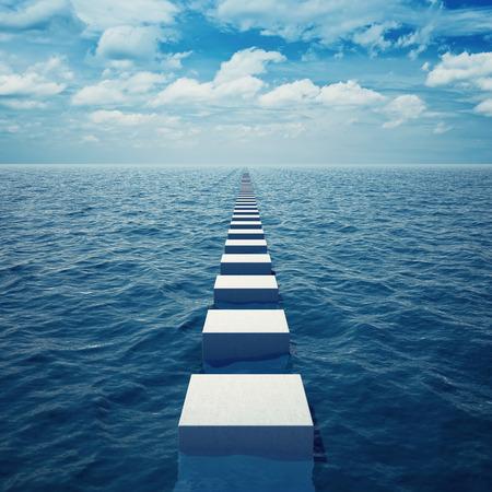 Photo pour Abstract way in sea receding into distance beyond horizon - image libre de droit