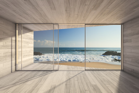 Photo pour Empty modern lounge area with large bay window and view of sea - image libre de droit