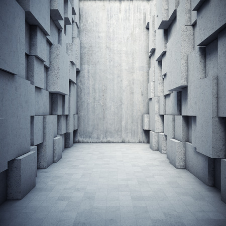 Photo pour Architectural design of the hall with elements of the cubes - image libre de droit