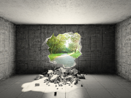 Photo pour Concrete room with hole in wall and exit to freedom - image libre de droit