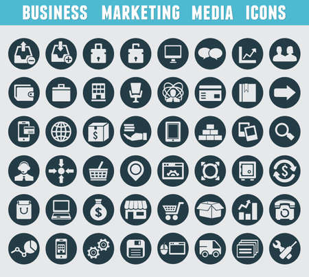 Illustration for Set of business and marketing icons - vector icons - Royalty Free Image