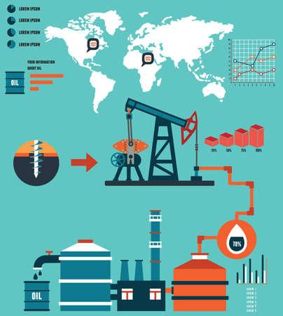 Illustration pour Process of oil production and petrolium refining - vector  Infographic design elements - image libre de droit