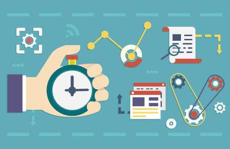 Illustration pour Vector flat concept of process social media business and marketing  Startup, business planning and results - vector illustration - image libre de droit