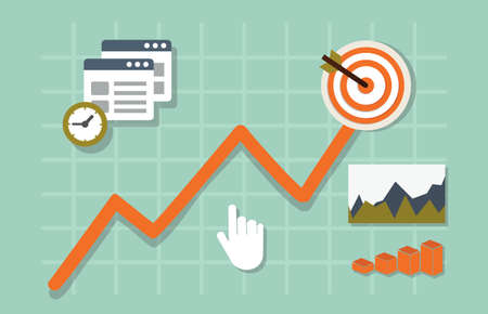 Illustration pour Flat vector illustration of web analytics information and development website statistic - vector illustration - image libre de droit