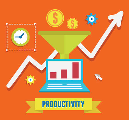 Illustration for Flat concept of productivity business and growth - Royalty Free Image