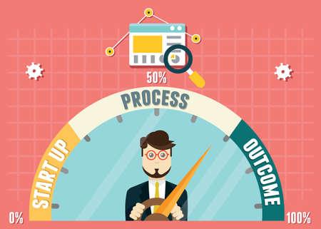 Illustration pour Dashboard of business development. Management and analytics - image libre de droit