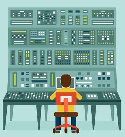 Illustration pour Flat illustration of expert with control panel.  - image libre de droit