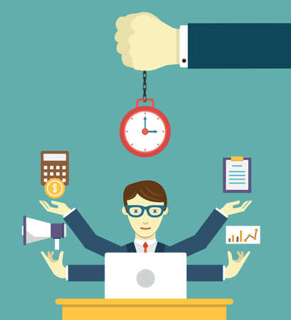 Ilustración de Time management - pledge of success. Business planning and results - vector illustration - Imagen libre de derechos
