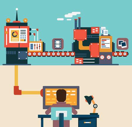 Illustration pour Infographic of application development for mobile devices - programming, creating and optimization application - vector illustration - image libre de droit