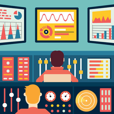 Illustration pour Analytics and data processing. Information and statistic - vector illustration - image libre de droit