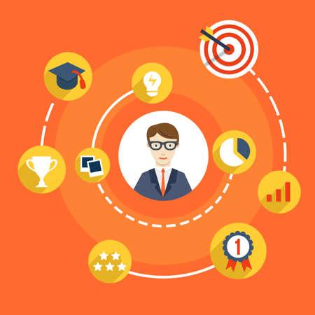 Illustration pour Usability Skills of Businessman - vector illustration - image libre de droit