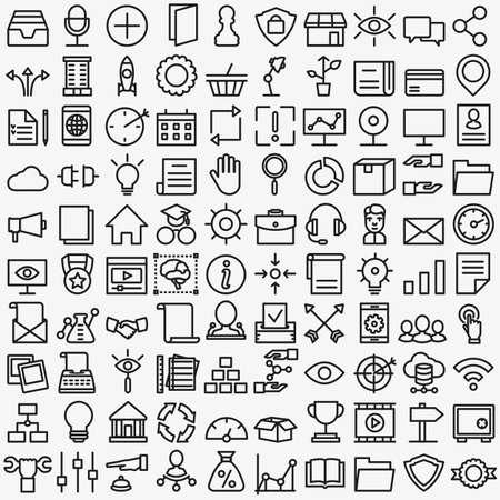 Illustration pour Set of vector linear media service icons. 100 icons for design vector icons - image libre de droit