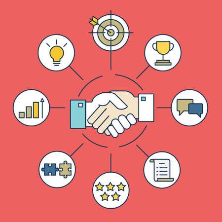 Photo pour Vector infographics of business deal and interaction - vector illustration - image libre de droit
