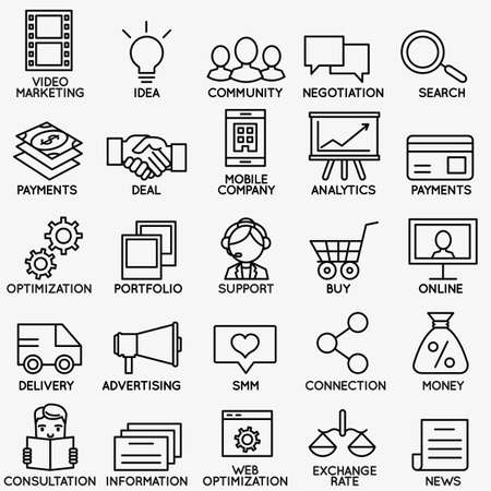 Illustration pour Set of seo and internet service icons - part 1 - vector linear symbols - image libre de droit