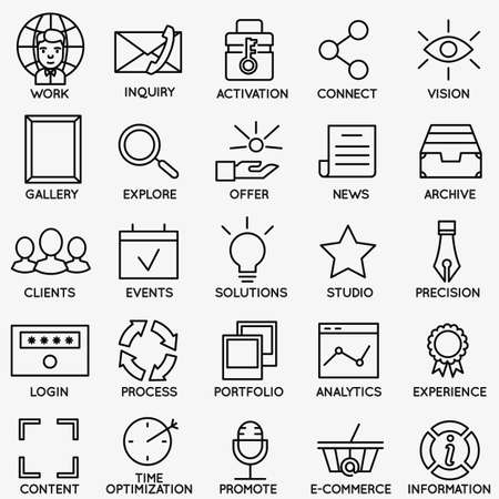 Illustration pour Set of seo and internet service icons - part 7 - vector linear symbols - image libre de droit