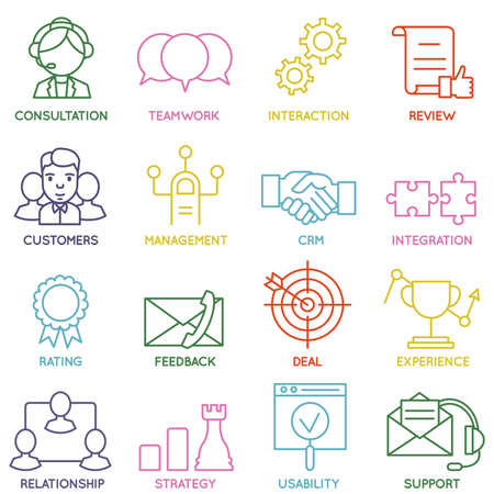 Photo pour Vector Set of Linear Customer Relationship Management Icons - part 1 - vector icons - image libre de droit
