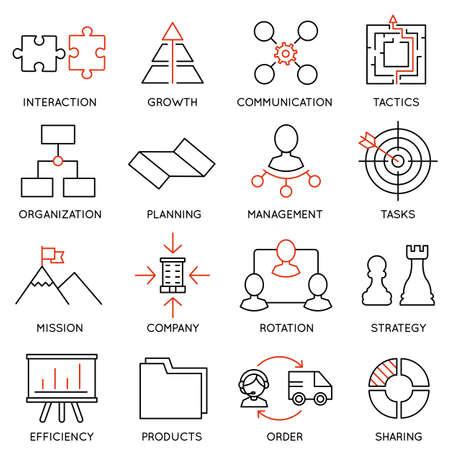 Illustration pour Set linear icons of business management, strategy, career progress and business people organization. Linear infographic vector logo pictograms - part 1 - image libre de droit