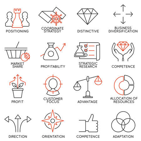 Illustration pour Set linear icons of business management, strategy, career progress and business people organization. Linear infographic vector logo pictograms - part 3 - image libre de droit