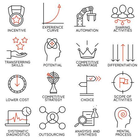 Illustration pour Set linear icons of business management, strategy, career progress and business people organization. Linear infographic vector pictograms - part 4 - image libre de droit