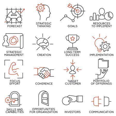 Illustration pour Set linear icons of business management, strategy, career progress and business people organization. Linear infographic vector logo pictograms - part 2 - image libre de droit