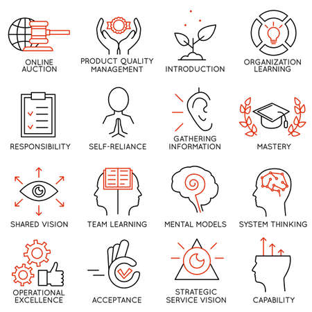 Illustration pour Vector set of 16 icons related to business management, strategy, career progress and business process. Mono line pictograms and infographics design elements - part 6 - image libre de droit