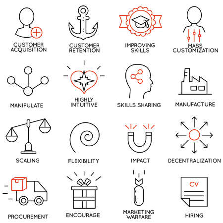 Illustration pour Vector set of 16 icons related to business management, strategy, career progress and business process. Mono line pictograms and infographics design elements - part 7 - image libre de droit