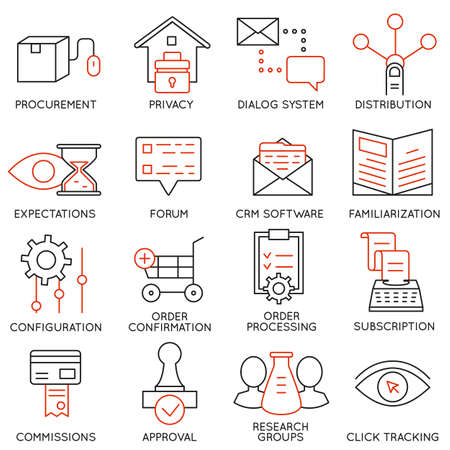 Illustration for Set of 16 icons related to business management - Royalty Free Image