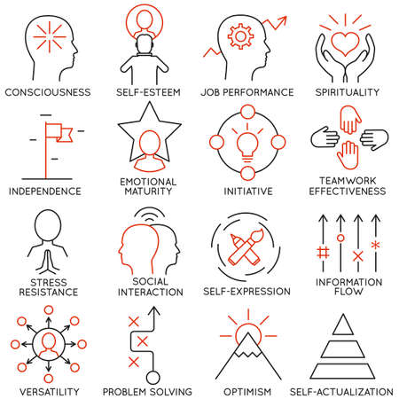 Illustrazione per Vector set of 16 icons related to business management, strategy, career progress and business process. Mono line pictograms and infographics design elements - part 21 - Immagini Royalty Free