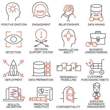Illustration for Vector set of 16 icons related to business management, strategy, career progress and business process. Mono line pictograms and infographics design elements - part 26 - Royalty Free Image