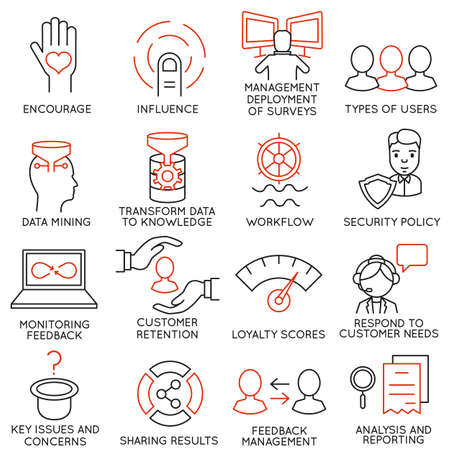 Illustration pour Vector set of 16 icons related to business management, strategy, career progress and business process. Mono line pictograms and infographics design elements - part 27 - image libre de droit