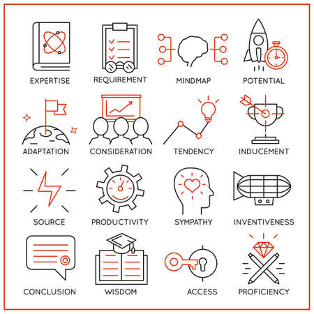Illustrazione per Vector set of 16 icons related to human resource management, mental process and useful abilities. Mono line pictograms and infographics design elements - part 3 - Immagini Royalty Free