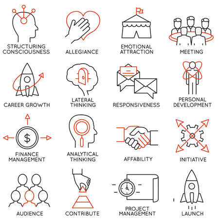Illustration pour Vector set of 16 icons related to business management, strategy, career progress and business process. Mono line pictograms and infographics design elements - part 29 - image libre de droit