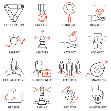 Illustration pour Vector set of 16 icons related to business management, strategy, career progress and business process. Mono line pictograms and infographics design elements - part 30 - image libre de droit