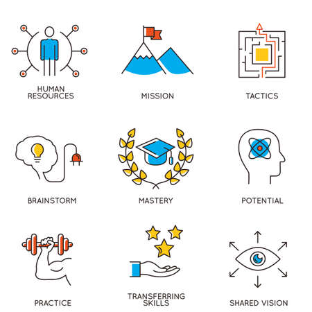 Illustrazione per Vector set of icons related to career progress and business management. Infographics design elements - part 2 - Immagini Royalty Free