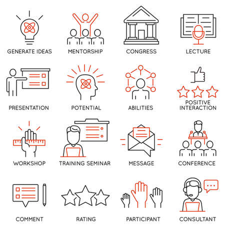 Illustration for Vector set icons related to career progress, corporate management, business people training and professional consulting service. Mono line pictograms and infographics design elements - Royalty Free Image