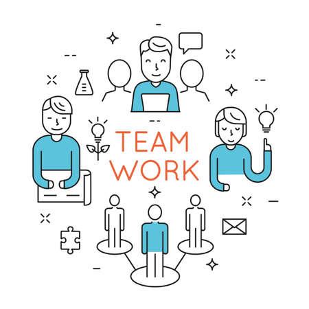 Ilustración de Flat line design concept of teamwork, people organization, human resource management,  group of people planning, brainstorming idea of business strategy - vector illustration - Imagen libre de derechos